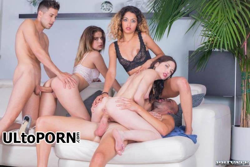 TightAndTeen.com, Private.com: Alice Fabre, Rachel Adjani, Scarlet, Scarlet Domingo - College Girl Orgy With BCN [266 MB / SD / 360p] (Group Sex)
