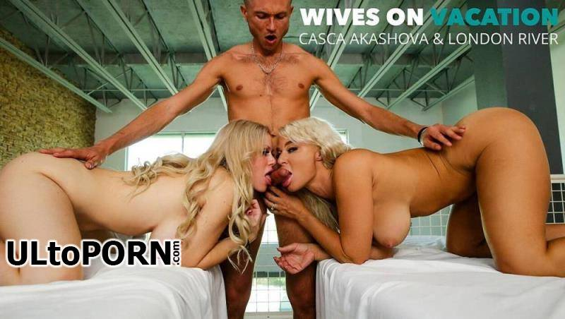 WivesOnVacation.com, NaughtyAmerica.com: Casca Akashova, London River - Casca Akashova And London River Get A Full Service From Their Masseur [335 MB / SD / 360p] (Threesome)